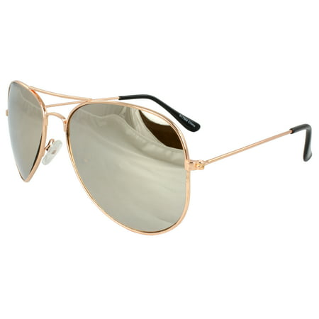 Pilot Fashion Aviator Sunglasses Gold Frame with Mirror Lenses for Men and Women