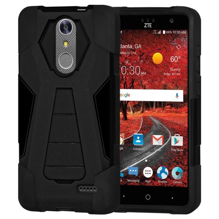detailed look 908de 1b534 ZTE Blade Spark Case, Premium Dual Layer Soft Silicone Skin Rubber Case  Hard Shell Back Cover with Stand for ZTE Blade Spark Z971 - Black,  ShockProof, ...