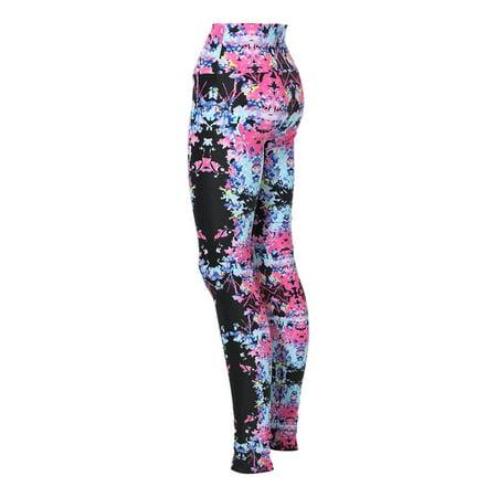 Alexandra Collection Womens Splatter High Waist Athletic Leggings Black (ADULT X-LARGE)