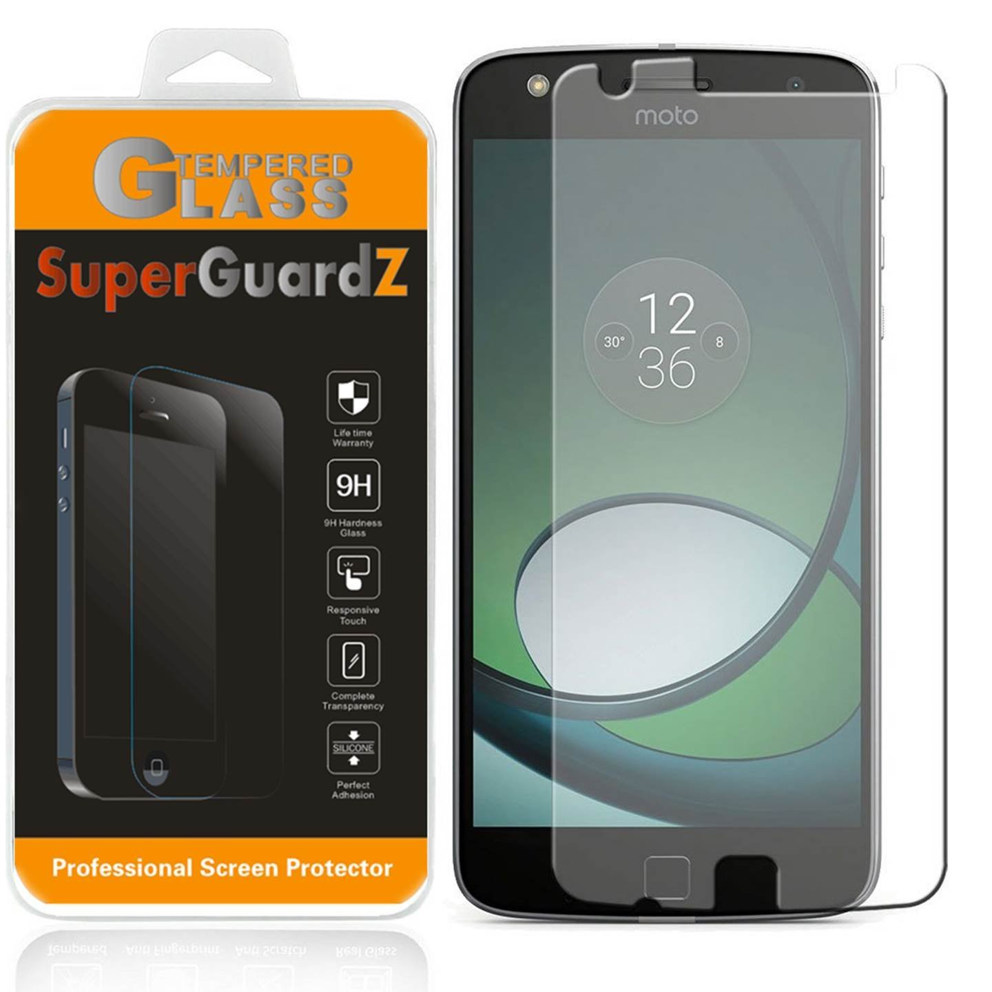 [3-Pack] For Motorola Moto Z Play Droid / Moto Z Play - SuperGuardZ Tempered Glass Screen Protector, 9H, Anti-Scratch, Anti-Bubble, Anti-Fingerprint