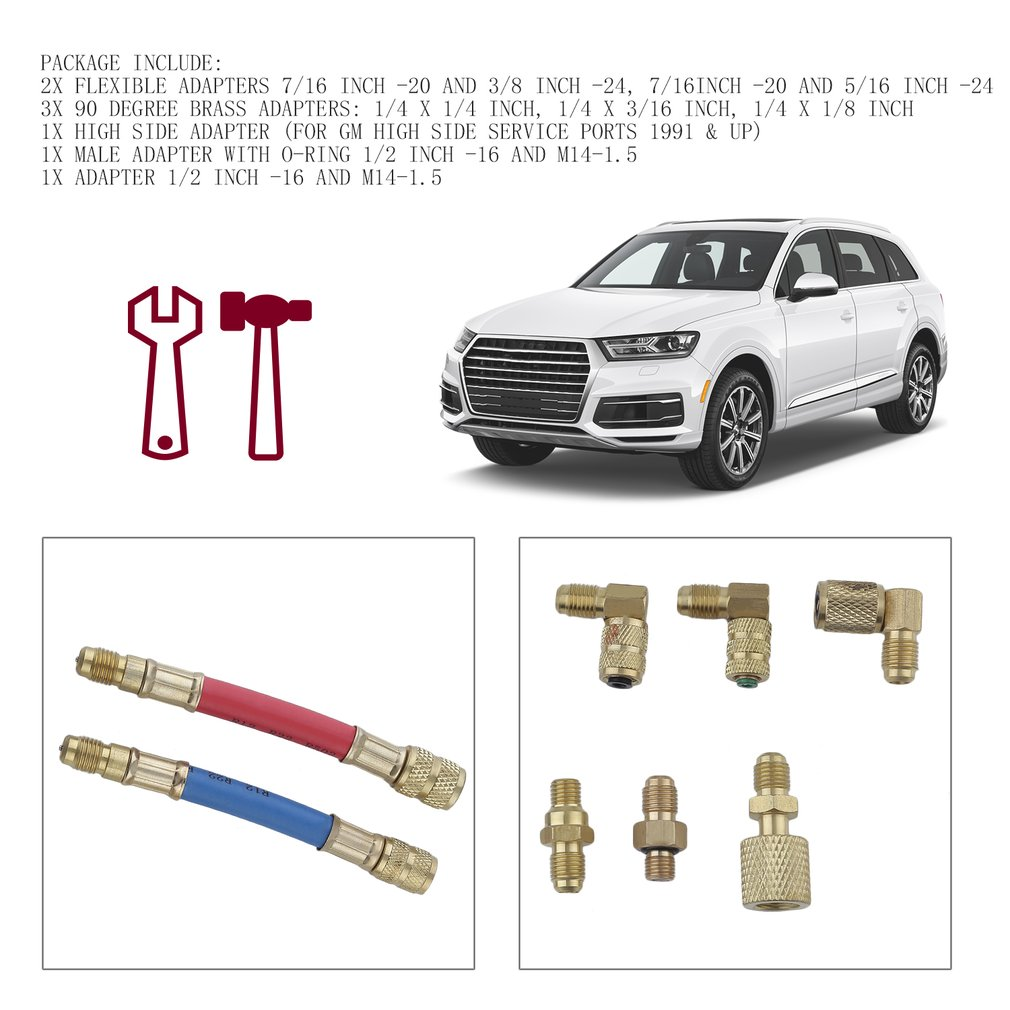 8 PCS A/C Manifold Gauge Adapter Solid Brass Car Air Conditioning Connector Set Durable Flexible Adapter For R-12