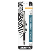 Zebra Pen G-301 Stainless Steel retractable gel pen, medium point, 0.7mm, black ink, 1-pack