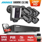 ANNKE H.265 1080P Security Camera System 8-Channel 5MP Lite 5-in-1 DVR with 1080P Spotlight Camera and 4pcs HD Weatherproof Night Vision Camera-0TB Hard Drive Disk