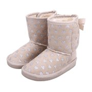 Kids Shimmer Faux Suede Sherpa Winter Boot -Foil Heart Pattern Toddler 9
