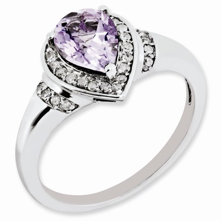 Quartz Prong (925 Sterling Silver Three Prong Pear Halo Pink Quartz and Diamond)