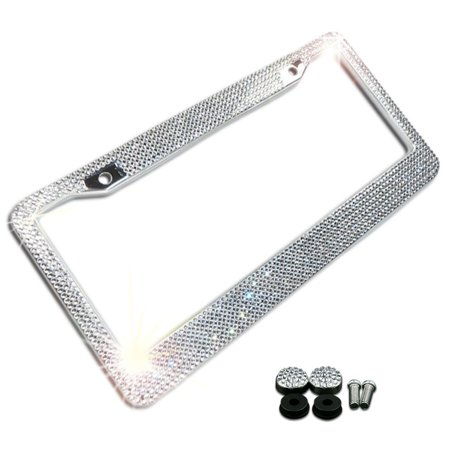 Zone Tech Shiny Bling License Plate Frame - Crystal Bling  Novelty/License Plate Frame with Mounting Screws Blue Airbrushed License Plates