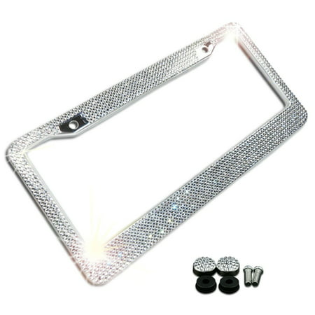 Zone Tech Shiny Bling License Plate Frame - Crystal Bling  Novelty/License Plate Frame with Mounting Screws - License Plate Attachment Kit