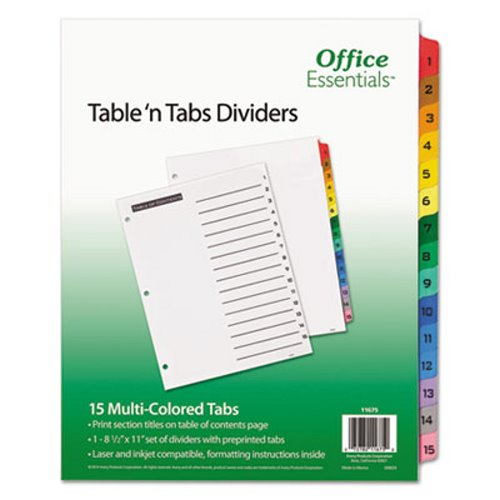 Office Essentials Table 'N Tabs Dividers, 1-15, Letter, 1 Set (AVE11675),2PK