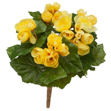 "OakRidge Silk Begonia Bush – Artificial Flowers Outdoor Décor – Yellow, 10"" (Best Artificial Flowers For Outdoors)"