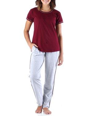 Frankie & Johnny Women's Sleepwear Cotton Short Sleeve Tee Shirt and Sweat Pant Pajama Set