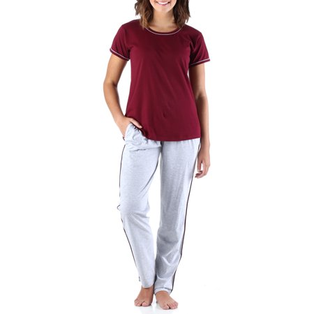 Frankie & Johnny Women's Sleepwear Cotton Short Sleeve Tee Shirt and Sweat Pant Pajama Set - Pj & Me