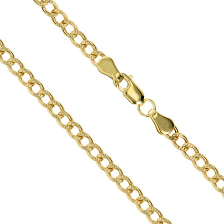 """14k Yellow Gold Solid Pave Curb Link Chain 3.2mm Necklace 18"""""""
