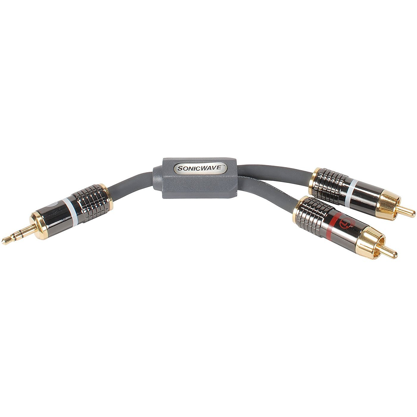 NEW - SONICWAVE(R) ONE 3.5MM STEREO MALE TO TWO RCA STEREO MALE AUDIO Y-CABLE - 29739