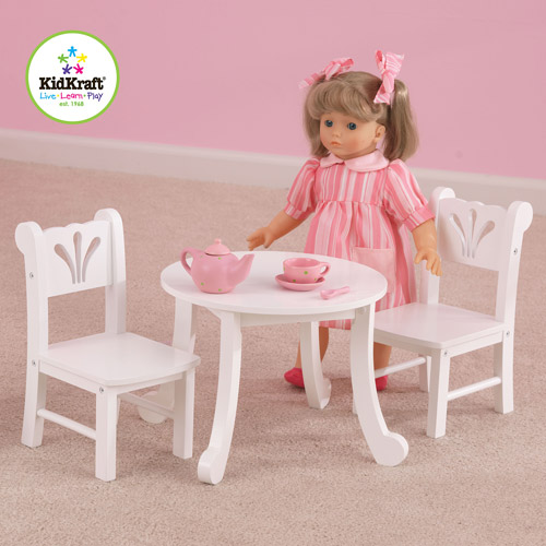 KidKraft Lil' Doll Table and Chairs Set, White