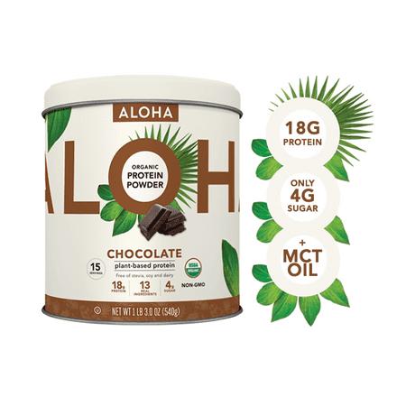 ALOHA Plant Based Protein Powder, Chocolate, 18g Protein, 1.2lb, 19oz