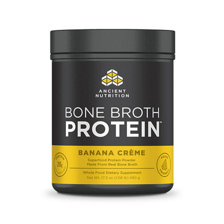 Ancient Nutrition, Bone Broth Protein, Banana Creme, 20 (Banana Milkshake Calories)
