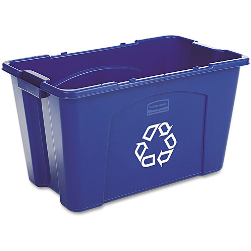 Rubbermaid Commercial Rectangular Blue Polyethylene Stacking Recycle Bin, 18 gal