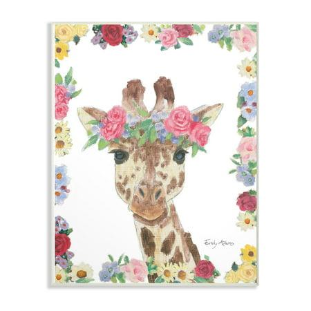The Stupell Home Decor Collection Flower Friends Giraffe Wall Plaque Art, 10 x 0.5 x 15