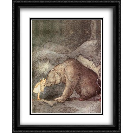 She kissed the bear on the nose 2x Matted 28x34 Large Black Ornate Framed Art Print by John Bauer