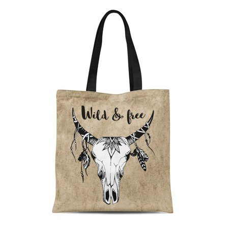 ASHLEIGH Canvas Tote Bag Cow Boho Chic Tribal Tattoo Head Skull Arrow Reusable Shoulder Grocery Shopping Bags (Best Tribal Shoulder Tattoos)