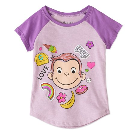 Curious George Toddler Girls  Love  Yay   Raglan Short Sleeve Graphic Crystalline   Patches T Shirt