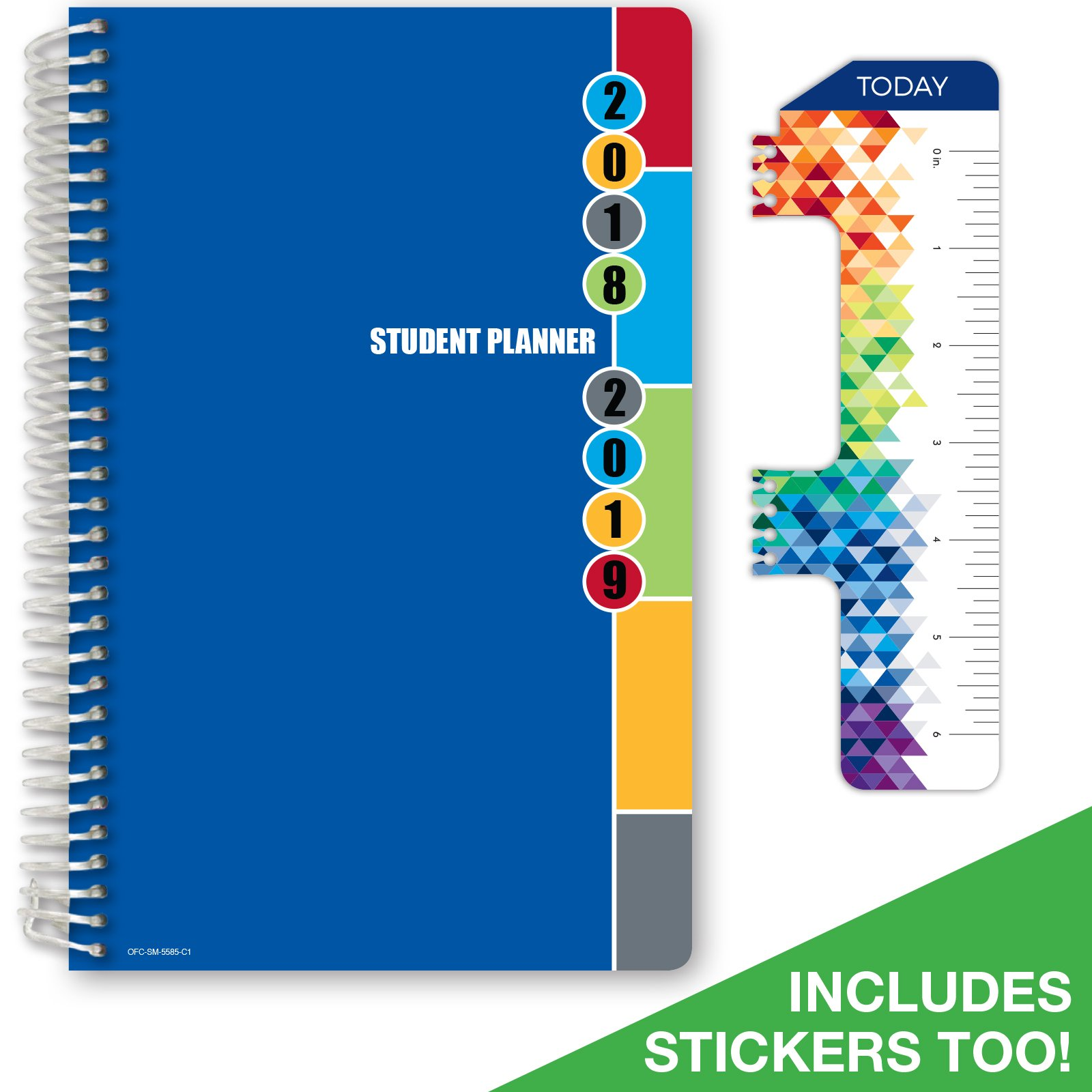 """2018-2019 Student Planner 5.5""""x8.5""""High School or Middle School for Academic Year 2018-2019 (Matrix Style Agenda -Blue Colors Cover) - Bonus RULER / BOOKMARK and PLANNING STICKERS"""
