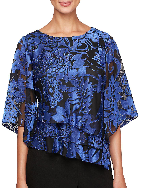 Plus Floral Illusion-Sleeve Blouse