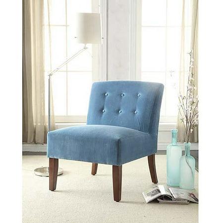 Velvet Tufted Armless Accent Chair Teal Walmart Com