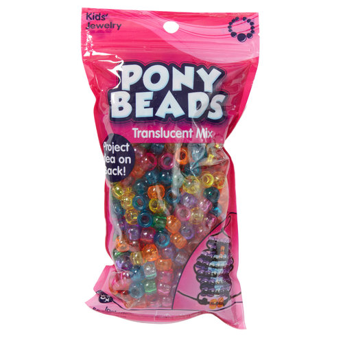 Kids Craft Pony Beads, Translucent