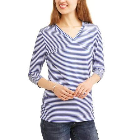 Womens Open Neck Shirt - Women's Essential 3/4 Sleeve Vneck Flattering Ruched T-Shirt