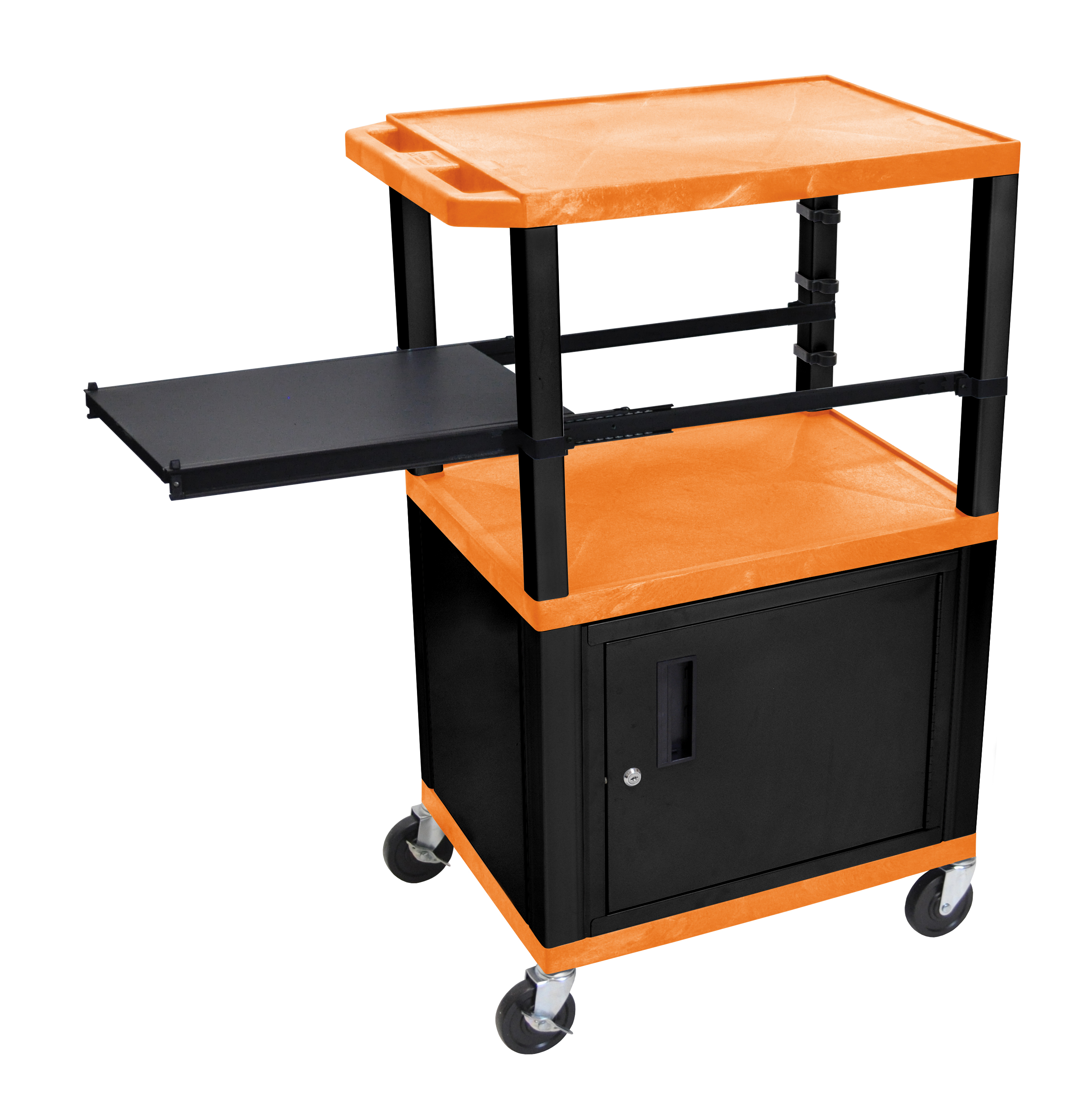 H WILSON WTPSP42ORC2E-B Presentation Station, 3-Shelf with Black Legs, Cabinet and Side Pull-Out Shelf, Tuffy, Orange