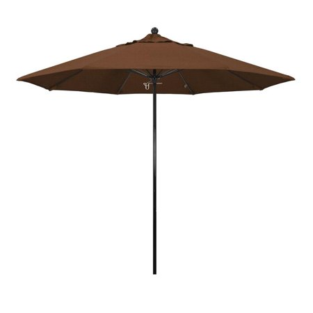 Image of California Umbrella Oceanside Series Patio Market Umbrella in Olefin with Black Fiberglass Pole Fiberglass Ribs Push Lift