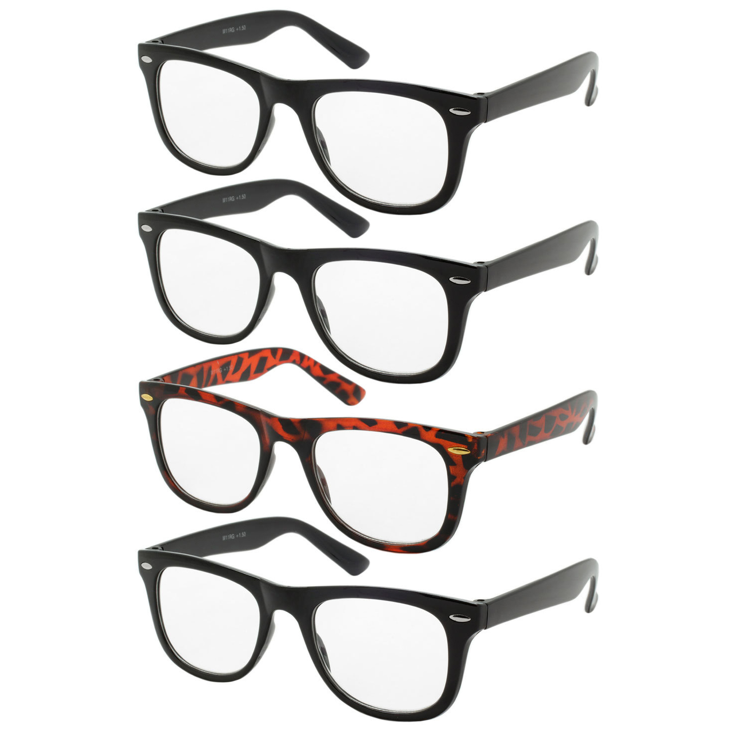 4 Pairs Reading Glasses, Spring Hinge Readers, Men's and Women's + Strength, Power Pack