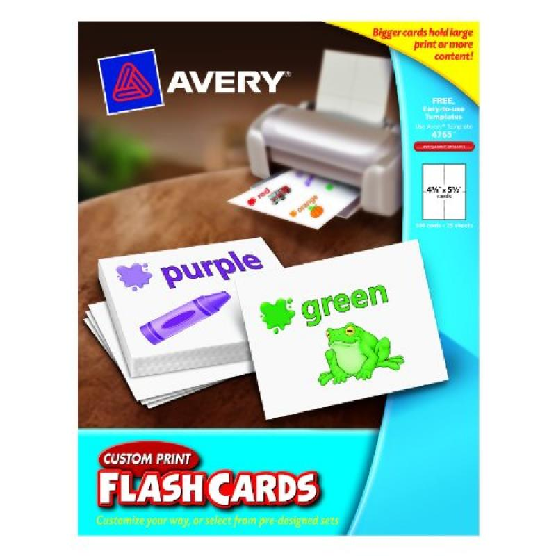 Avery Custom Print Flash Cards, 4.25 x 5.5 Inches, for Inkjet and Laser Printers, Pack 100 (04765)