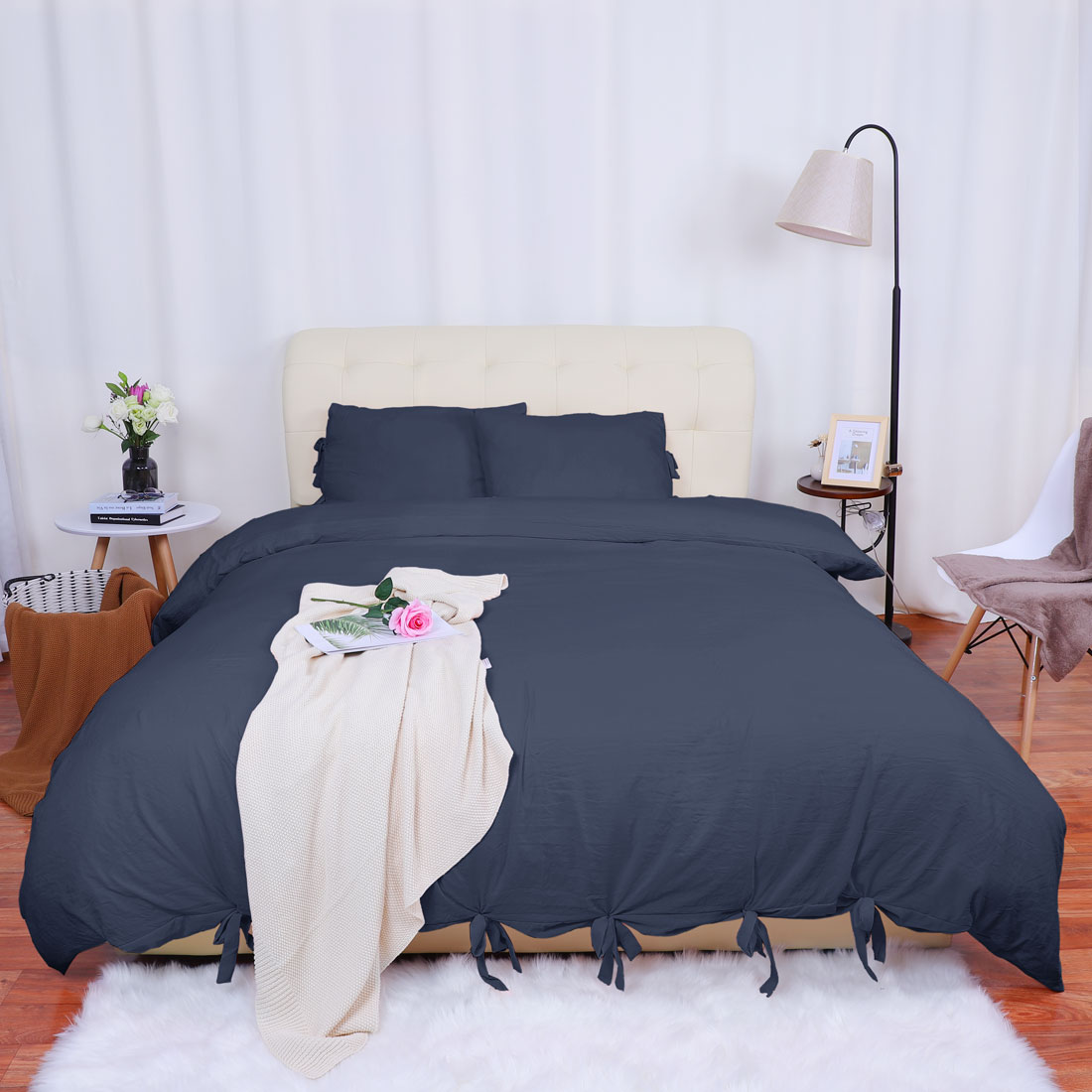 PiccoCasa Washed Cotton Bedding Comforter Duvet Cover Pillowcase Set