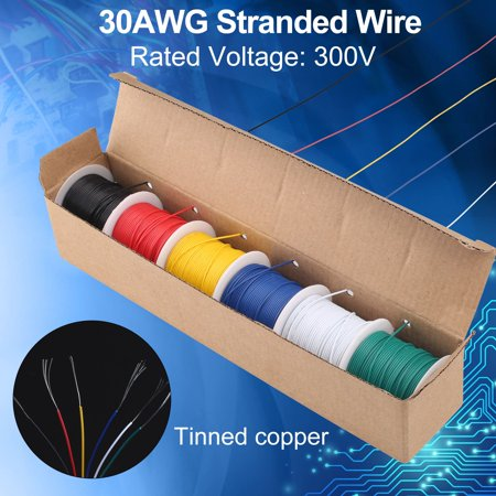 30AWG Stranded Wire, 6 Colors (30 Feet Each) Electrical Wire, Tinned Copper Hookup Wire Kit 30 Gauge 300V for DIY, Flexible, PVC insulated Copper Wire Insulation