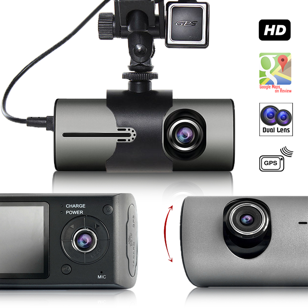 """Indigi Wide Angle BlackBox Dash Cam Dual Lens Car DVR w/ 2.7"""" LCD +"