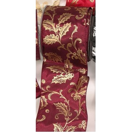 Burgundy with Gold Poinsettia and Berry Print Wired Craft Ribbon 4