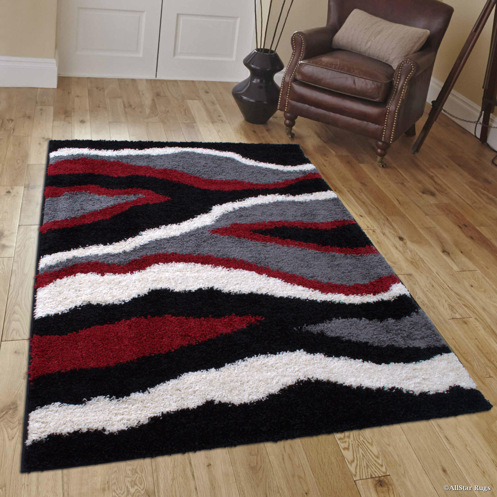 "Allstar Modern Contemporary Red High Pile Posh Shaggy Wave Patterned Area Rug (5' 0"" x 7' 0"")"