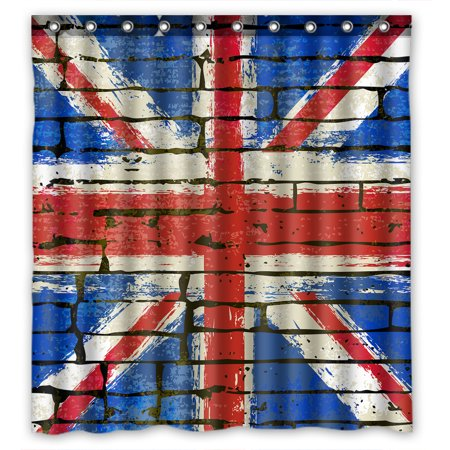 YKCG Grunge British Union Jack Flag UK Brick Wall Shower Curtain Waterproof Fabric Bathroom