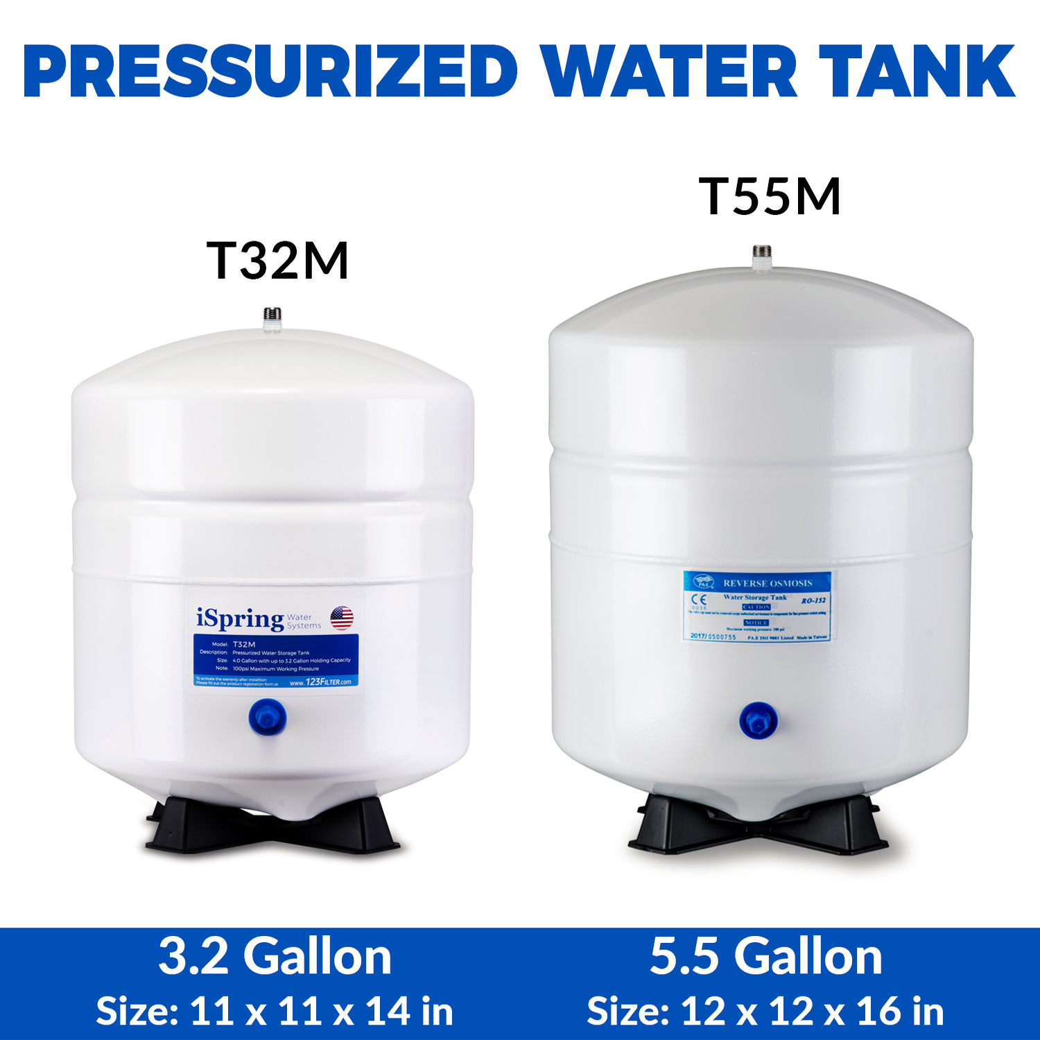 iSpring T32M 4 Gallon Residential Pressurized Water Storage Tank for Reverse Osmosis (RO) Systems - Walmart.com  sc 1 st  Walmart & iSpring T32M 4 Gallon Residential Pressurized Water Storage Tank for ...