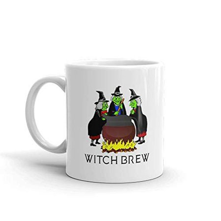 Witch Brew Coffee Halloween Funny Novelty Humor 11oz White Ceramic Glass Coffee Tea Mug Cup