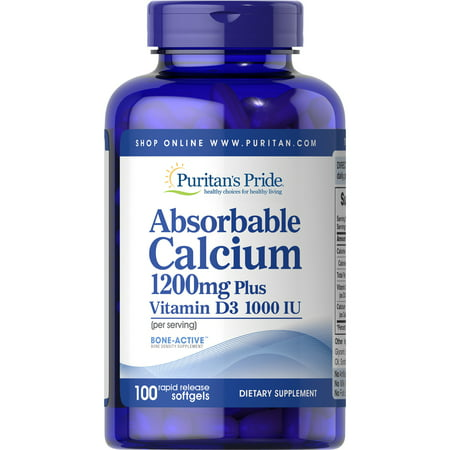 Puritan's Pride Absorbable Calcium + Vitamin D Softgels, 1200mg 1000 IU, 100 Ct