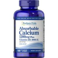 Puritan's Pride Absorbable Calcium + Vitamin D Softgels, 1200mg 1000 IU, 100 Ct
