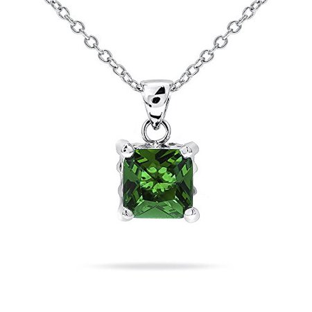 Emerald Cut Solitaire Pendant - Rhodium Plated Reversible Pendant with Princess Cut Emerald Green CZ Solitaire and Reversible