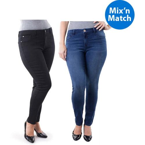Jordache Women's Plus-Size Super Skinny Jegging 2 Pack Value Bundle