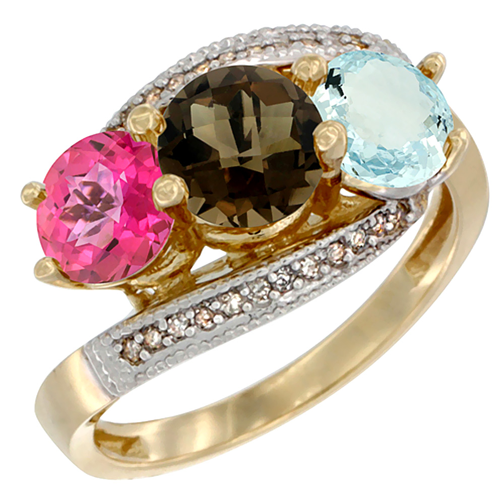 10K Yellow Gold Natural Pink Topaz, Smoky Topaz & Aquamarine 3 stone Ring Round 6mm Diamond Accent, sizes 5 10 by WorldJewels