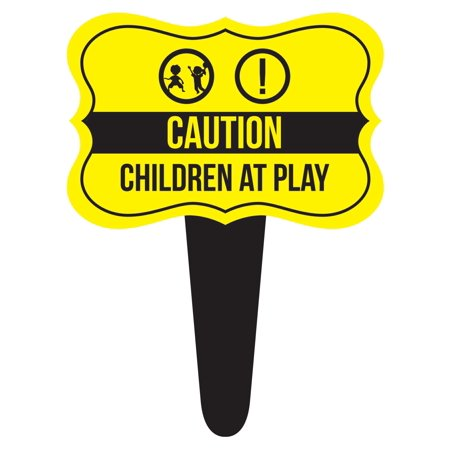 Caution Children at Play Home Yard Lawn Sign, Yellow