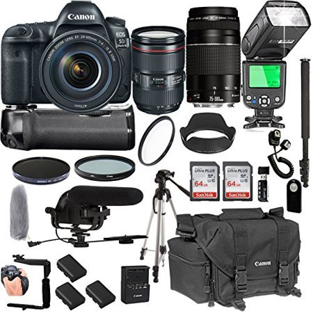 Canon EOS 5D Mark IV With 24-105mm f/4 L IS II USM + 75-300mm III Lenses + 128GB Memory + Canon Camera Bag + Pro Battery Bundle + Power Grip + Microphone + TTL SpeedLight + Pro Filters,(24pc