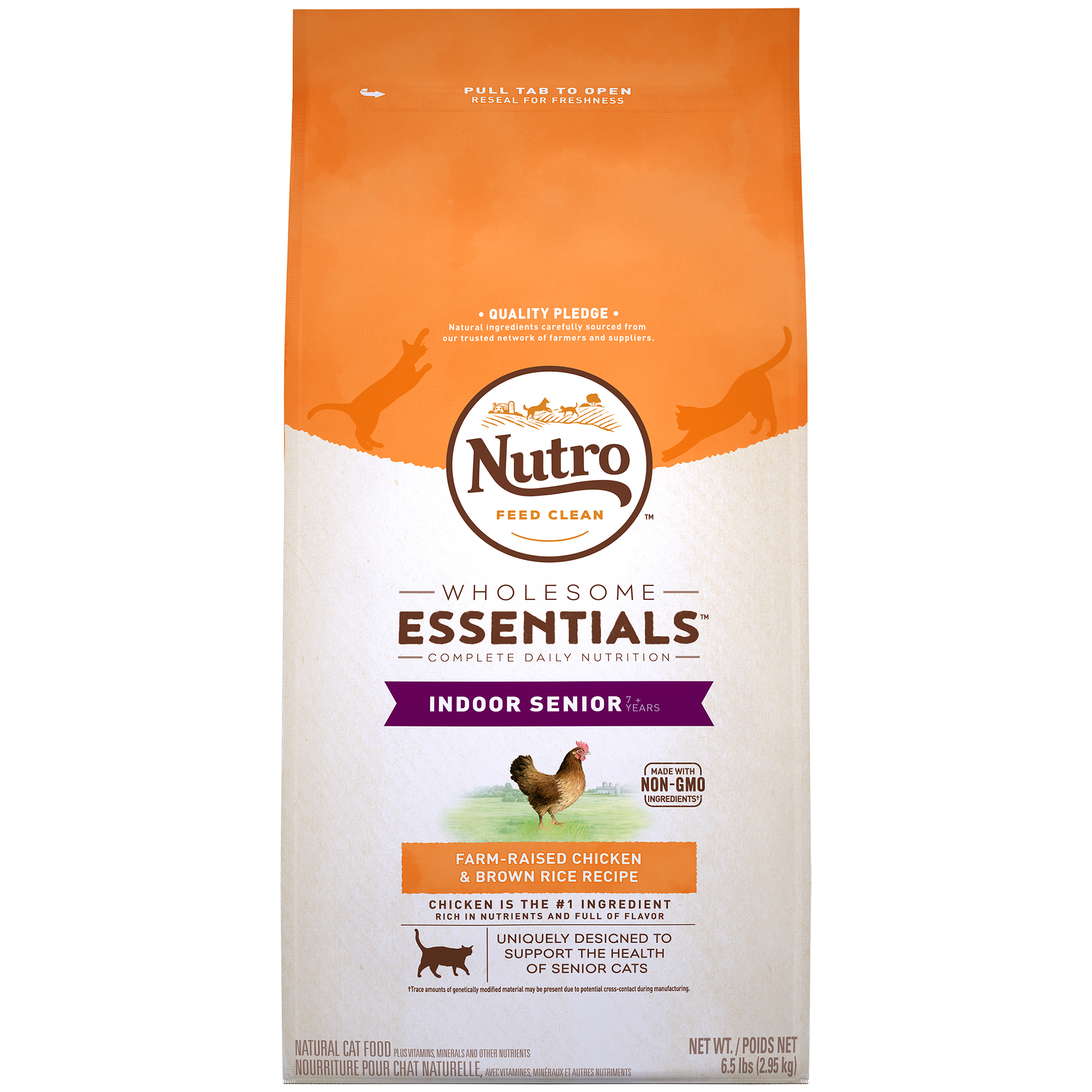Nutro Wholesome Essentials Indoor Senior with Farm-Raised Chicken & Brown Rice Dry Cat Food, 6.5 lb
